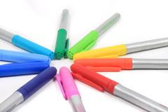 colorful markers in rainbow colors - stock photo