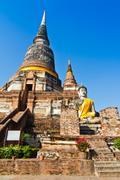 Ancient buddha statue in Wat Yai Chai Mongkol - stock photo