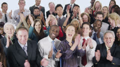 Happy, diverse group of business people isolated on white Stock Footage