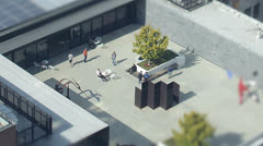 Aerial view in time lapse of visitors at the San Francisco Museum of Modern Art Stock Footage
