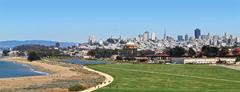 San francisco and crissy field on a crystal clear day Stock Photos