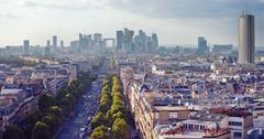 the skyline of la defense in paris - stock photo