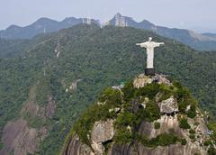 Aerial view of corcovado mountain and christ the redemeer in rio de janeiro Stock Photos