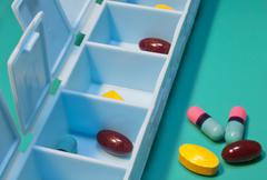 Pill organizer Stock Photos
