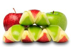 red & green apple - stock photo