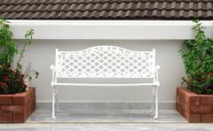 white chair garden - stock photo