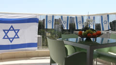 Israeli Balcony  in the Independence Day - stock footage