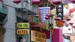 Chinatown San Francisco kite business market stores HD 5607 Stock Footage