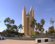 Egyptian soviet friendship memorial at the Aswan high dam Stock Footage