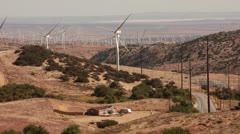 Wind turbines sunrise Mojave desert Stock Footage
