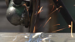 Impeller and metal. Sparks. Stock Footage