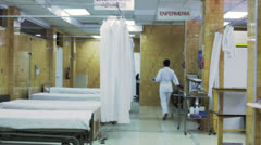 Empty bedrooms of an hospital in Latin America Stock Footage