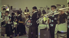 Mexican band plays the trumpets - stock footage
