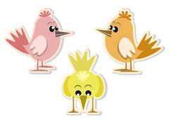 Stock Illustration of cute colorful little birds, vector illustration