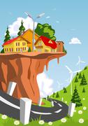 Crazy town on a rocky overhang Stock Illustration