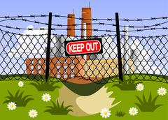 Factory and wire fence with barbed wires. hole under the fence Stock Illustration