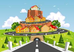 Stock Illustration of colorful abstract city on rock