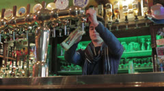 Bartender at the pub Stock Footage