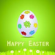 vector green paper card with white ornate easter egg - stock illustration