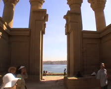View inside the Hypostyle Hall in Philae Stock Footage