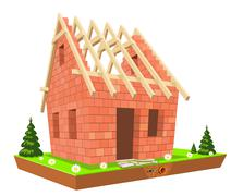 Stock Illustration of new unfinished home on green grass
