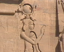 Figure carvings at Philae in Egypt Stock Footage