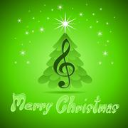 christmas greeting card with treble clef - stock illustration