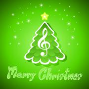 Stock Illustration of christmas greeting card with treble clef