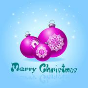 Stock Illustration of blue greeting cards with christmas ball