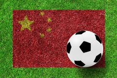Stock Photo of soccer ball on flag of china as a painting on green grass background