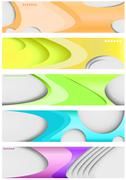 Stock Illustration of set of five banners, futuristic headers
