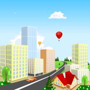 Vector city with a balloon in the background Stock Illustration