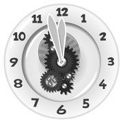 Stock Illustration of white clock. five minutes to twelve