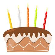 Stock Illustration of vector birthday cake with burning candles