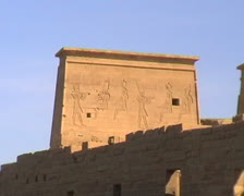 The First Pylon of the Temple of Isis on Philae Island Stock Footage