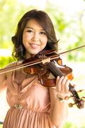 violinist lady - stock photo