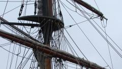 Tall Ship Mast and Rigging - Tilt to Crows Nest Stock Footage