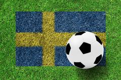 soccer ball on flag of sweden as a painting on green grass - stock photo