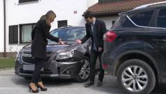 Arguing after car accident Stock Footage