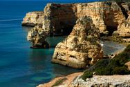 Stock Photo of coastal cliff in the portuguese coast of algarve