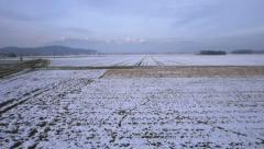 AERIAL: Fields in winter Stock Footage