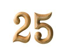 Wooden numeric 25 Stock Illustration