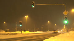 Highway crossroad in winter Stock Footage