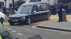 Maggie Thatchers Coffin Leaving St.Pauls Cathedral Stock Footage