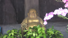 A Small Buddha, Pink Fower and Waterfall p138 Stock Footage