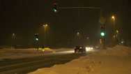 Stock Video Footage of Busy crossroad in blizzard