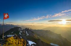 Swiss Alps at Sunset - stock photo