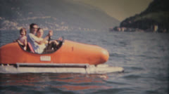 A vintage scene of a paddle boat Stock Footage