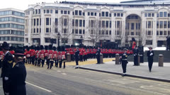 The Queens Guards Marching - stock footage