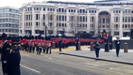 Stock Video Footage of The Queens Guards Marching